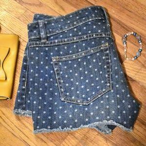 LC Lauren Conrad Polka Dot Denim Cutoff Shorts